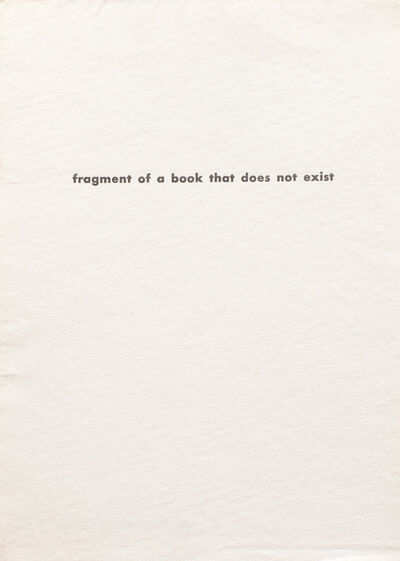 Jiří Valoch, 'fragment of a book that does not exist', 1972
