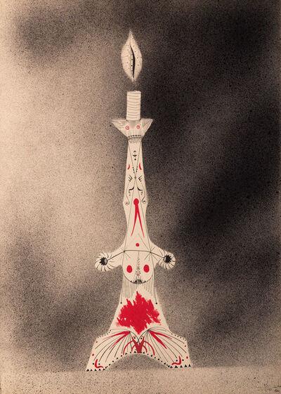 Joan Ponç, 'Sin Título (aerografía con candelabro sobre espacio en reserva)', 1960