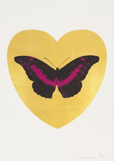 Damien Hirst, 'I Love You - gold leaf, black, fuchsia ', 2015