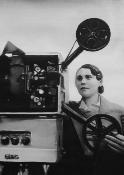 "Radenko Milak, 'Female projectionist in Tashkent, Uzbekistan (1930s), from the series ""So close and yet so far""', 2014"
