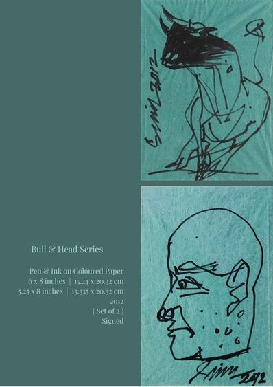 """Sunil Das, 'Bull & Head Series, Pen & Ink on Coloured Paper (Set of 2) by Modern Indian Artist """"In Stock""""', 2012"""
