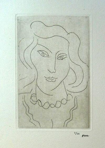 Henri Matisse, ' Face of a Young Woman with a Twisted Necklace / Tete de Jeune Femme au Collier en Torsade', 1975
