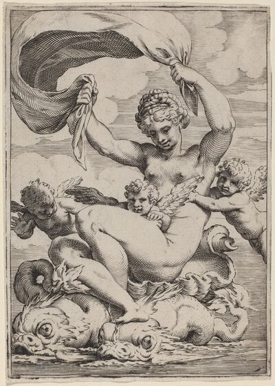 Agostino Carracci, 'Venus or Galatea Supported by Dolphins', ca. 1590/1595