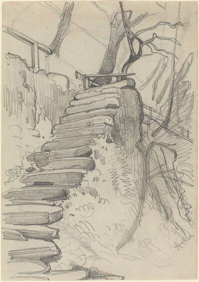 Adolph Menzel, 'Flight of Stone Steps in a Garden'
