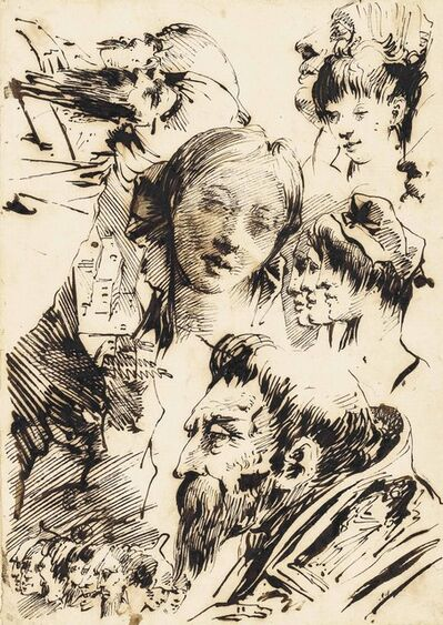 Giovanni Domenico Tiepolo, 'Studies of heads, including those of a young woman and profiles of Orientals, with a subsidiary study of a farm'