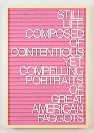 Maynard Monrow, 'Untitled / Great American Faggots (Yellow/Pink)', 2018