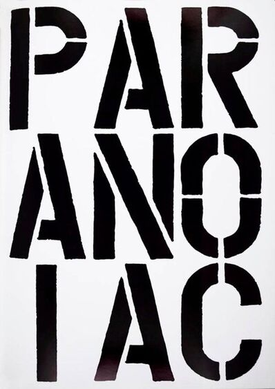 Christopher Wool, 'Paranoiac (Page from Black Book)', 1989