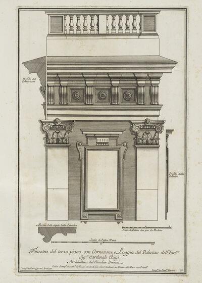 Gian Lorenzo Bernini, 'Finestra del terzo piano con cornicione e loggia del palazzo dell'Emmo. Sigre. Cardinale Chigi', 1702-1721