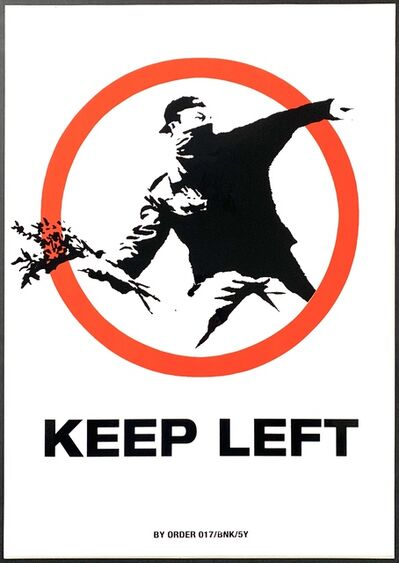 Banksy, 'Keep Left ('Flower Thrower') XL Sticker', ca. 2004