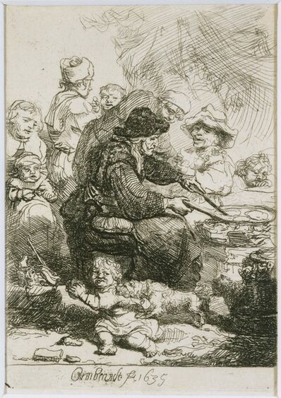 Rembrandt van Rijn and Studio of Rembrandt van Rijn, 'The Pancake Woman, state III', 1635