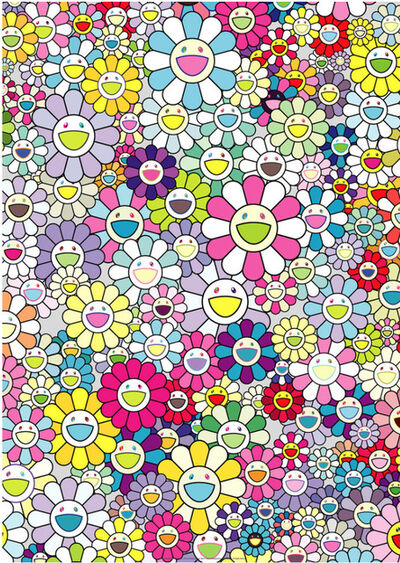 Takashi Murakami, 'Champagne Supernova: Multicolor & Pink and White Stripes', 2013
