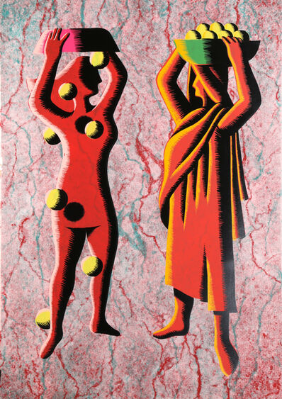 Mark Kostabi, 'Two Cultures - Red', ca. 1985