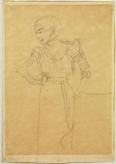 Gustav Klimt, 'Figure in Profile Looking Left Standing Next to an Armchair', 1900