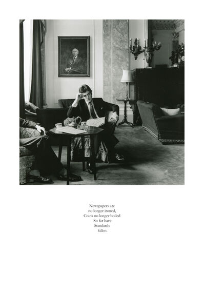 Karen Knorr, 'Newspapers are no longer ironed, Coins no longer boiled So far have Standards Fallen', 1981-1983