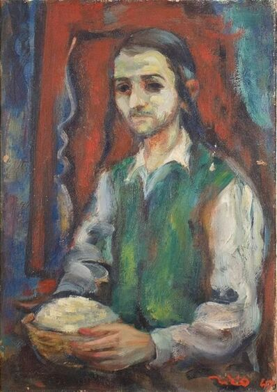 Eliyahu Sigard, 'Young Religious Man 1947 Palestine, Israeli Judaica Painting', 1940-1949