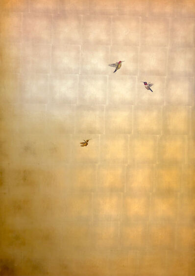 Carolyn Reynolds, 'Three Hummers in Ascension Over Gold III', 2021