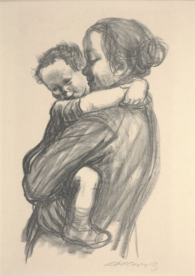 Käthe Kollwitz, 'Boy with Arms Around Mother's Neck', 1931