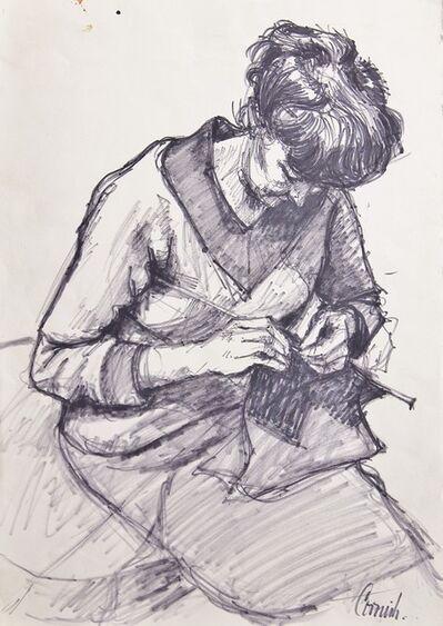 Norman Cornish, 'Sarah Knitting', ca. 1965