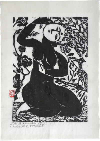 Shiko Munakata, 'Goddess with Falcon and Camellias', 1962