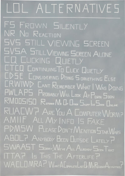 Scott Reeder, 'Untitled (LOL Alternatives)', 2012