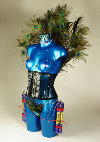 Laila Shawa, 'Disposable Bodies 5, Paradise Now  Plastic, rhinestones, Swarovski crystals, Peacock feathers and wire, height 88 cm.  ', 2012