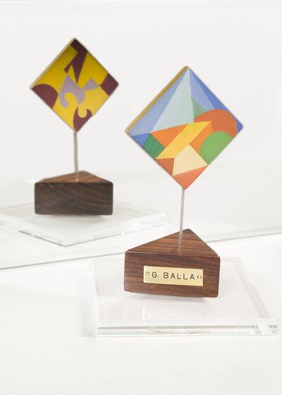 Giacomo Balla, 'Sottobicchiere – forme geometriche colorate (recto); linee andamentali (verso)', anni Venti