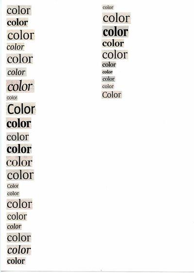 Ignasi Aballí, 'Llistats. Colores', 2009