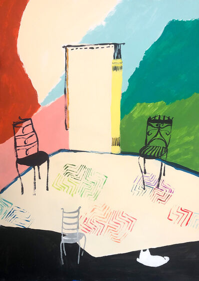 Polly Shindler, 'Three Chairs with White Cat ', 2020