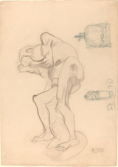 Gustav Klimt, 'Study of a Nude Old Woman Clenching Her Fists, and Two Decorative Objects', ca. 1901
