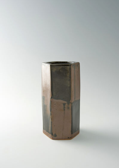 Shōji Hamada, 'Hexagonal vase, black and kaki glaze', 1970
