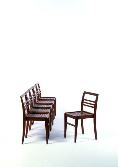 René Gabriel, 'Six staking chairs in beech', vers 1950