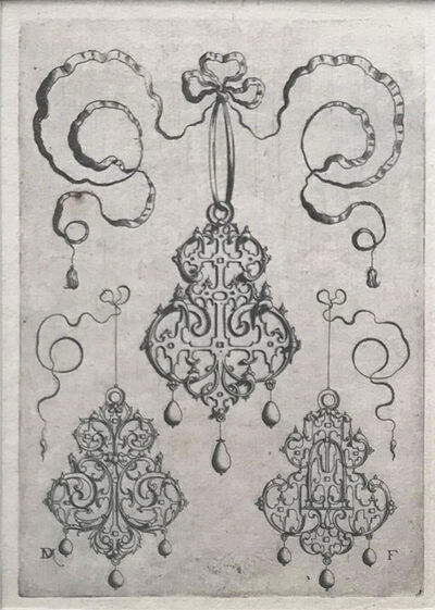 Daniel Mignot, 'Three Strapwork Pendants, each with three pearls.', 1595