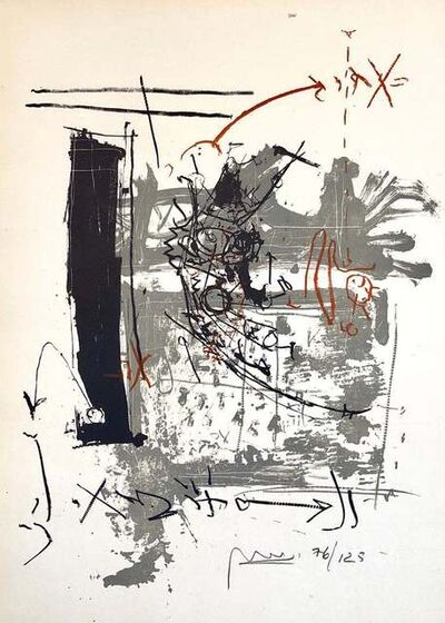"Igael Tumarkin, 'Israeli Tumarkin Abstract Modernist Graffiti Art Lithograph Print ""Broken Hour""', 1950-1959"