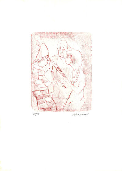 Mino Maccari, 'Coppia con il clown', 1975