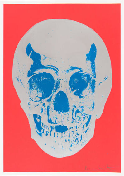 Damien Hirst, 'Till Death Do Us Part - Coral Red Silver Gloss True Blue Skull', 2012