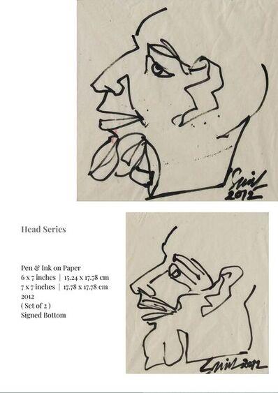 "Sunil Das, 'Head Series, Pen & Ink on Paper (Set of 2) by Modern Indian Artist ""In Stock""', 2012"