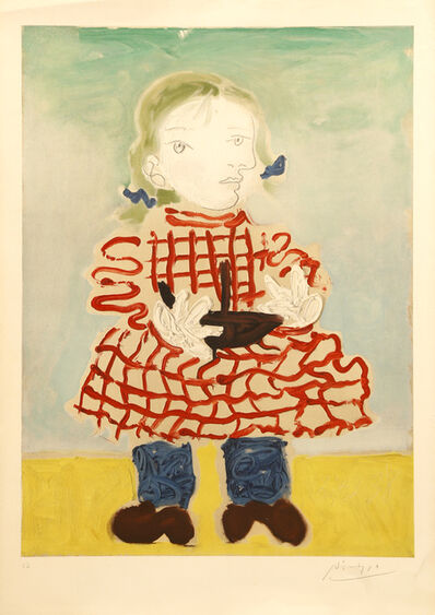 Pablo Picasso, 'Picasso (after) - Maya in a Pinafore- Handsigned Lithograph', 1965
