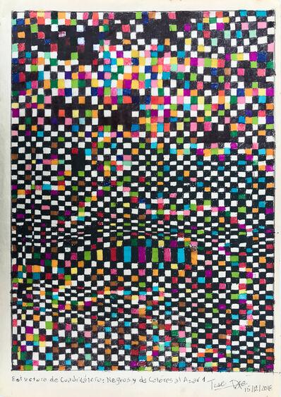 Teresa Burga, 'Estructura de cuadriláteros negros y de colores al azar 1', 2018