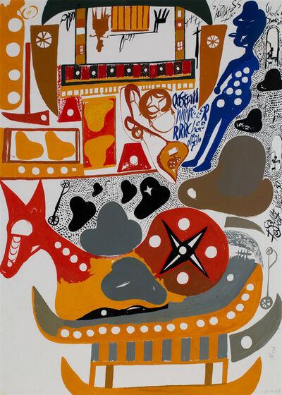 Carlo Zinelli, 'Side A: Due Cavalli seduti su barche e due alpine giallo e rosso Side B: Cavallo seduto a piu colori, alpino blu', 1967