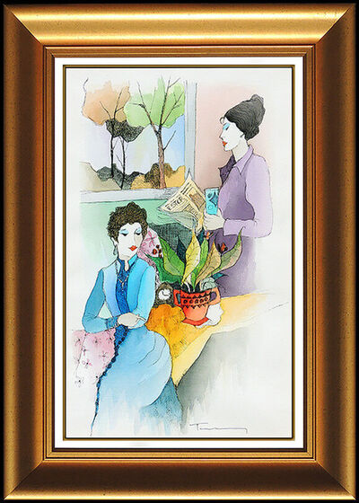 Itzchak Tarkay, 'Itzchak Tarkay Large Original Watercolor Painting Signed Female Portrait Cafe', 20th Century
