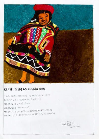 Teresa Burga, 'Serie niñas cusqueñas', 2018