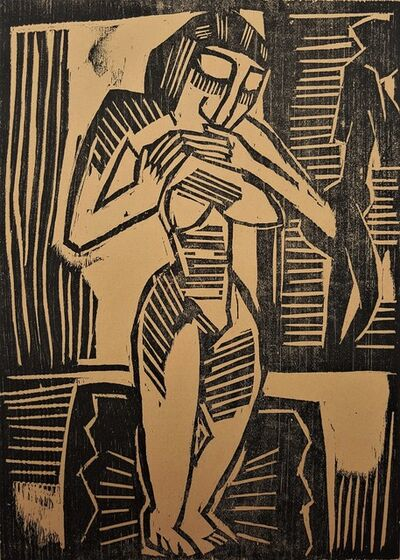 Karl Schmidt-Rottluff, 'Frau auf Teppich (Woman on Carpet)', 1915