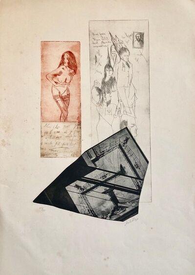 Zvi Milshtein, 'Erotic Nude French Surrealist Aquatint Etching Photo Collage Silkscreen Print', 20th Century
