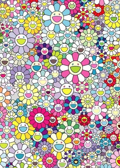 Takashi Murakami, 'Champagne Supernova: Multicolor + Pink and White Stripes', 2018