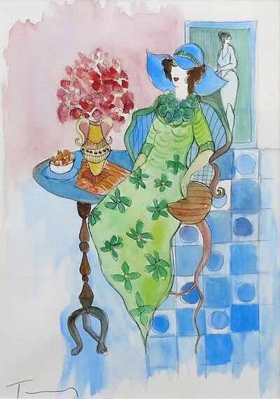 Itzchak Tarkay, 'UNTITLED (GREEN DRESS)', UNKNOWN