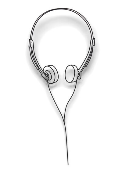 Michael Craig-Martin, 'Small Headphones', 1986