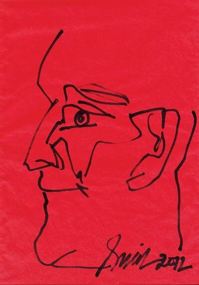 "Sunil Das, 'Face, Ink on Coloured Paper by Padma Shree Artist Sunil Das ""In Stock""', 2012"