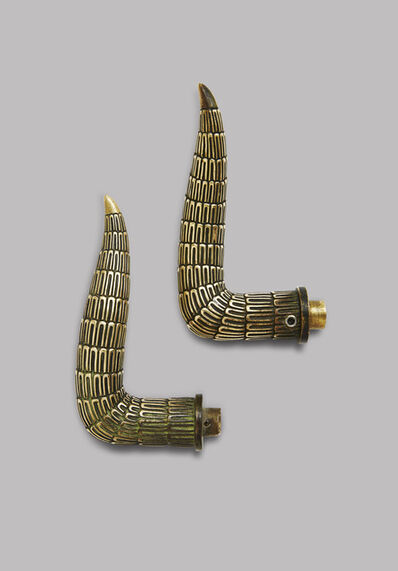 Armand-Albert Rateau, 'A pair of curved, patinated bronze door handles'