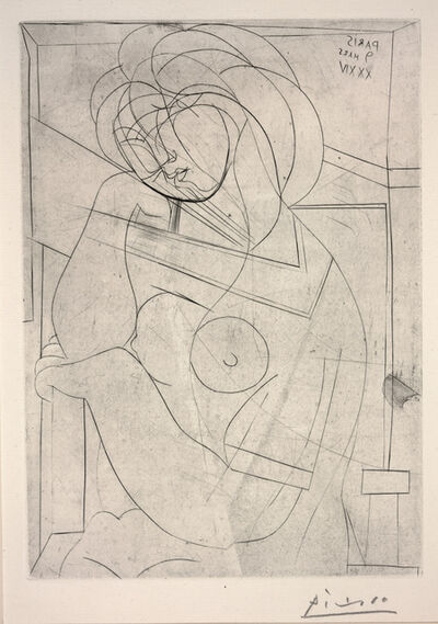 Pablo Picasso, 'Seated Nude, Her Head Leaning on Her Hand from Vollard Suite', 1934