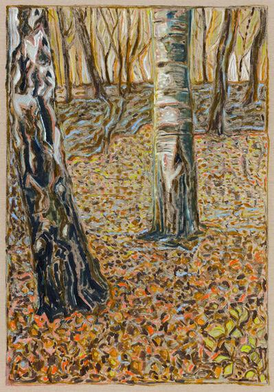 Billy Childish, 'two birch trees', 2017